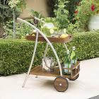 Christopher Knight Home Huron Outdoor Dark Acacia Wood Bar Cart by Dark Oak + Shiny Powder Coating