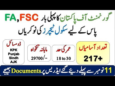 Govt Elementary School Teachers Jobs - FA/FSC Education - All Pakistan (217 Post)