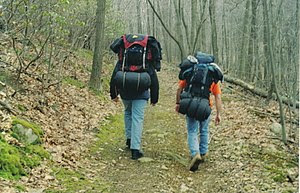 Two campers with gear hiking through Bear Moun...