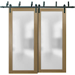 Sliding Closet Frosted Glass Barn Bypass Doors with Hardware | Planum 2102 Honey Ash | Sturdy Top Mount 6.6ft Rails Hardware Set | Modern Wood Solid
