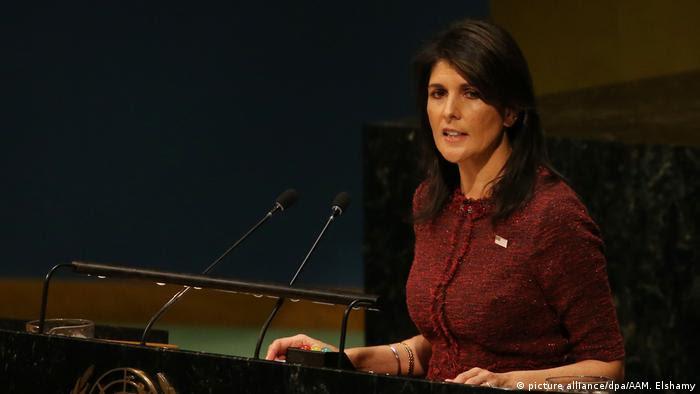 USA UN Botschafterin der USA Nikki Haley (picture alliance/dpa/AAM. Elshamy)