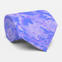 Light Blue Camouflage Pattern Tie