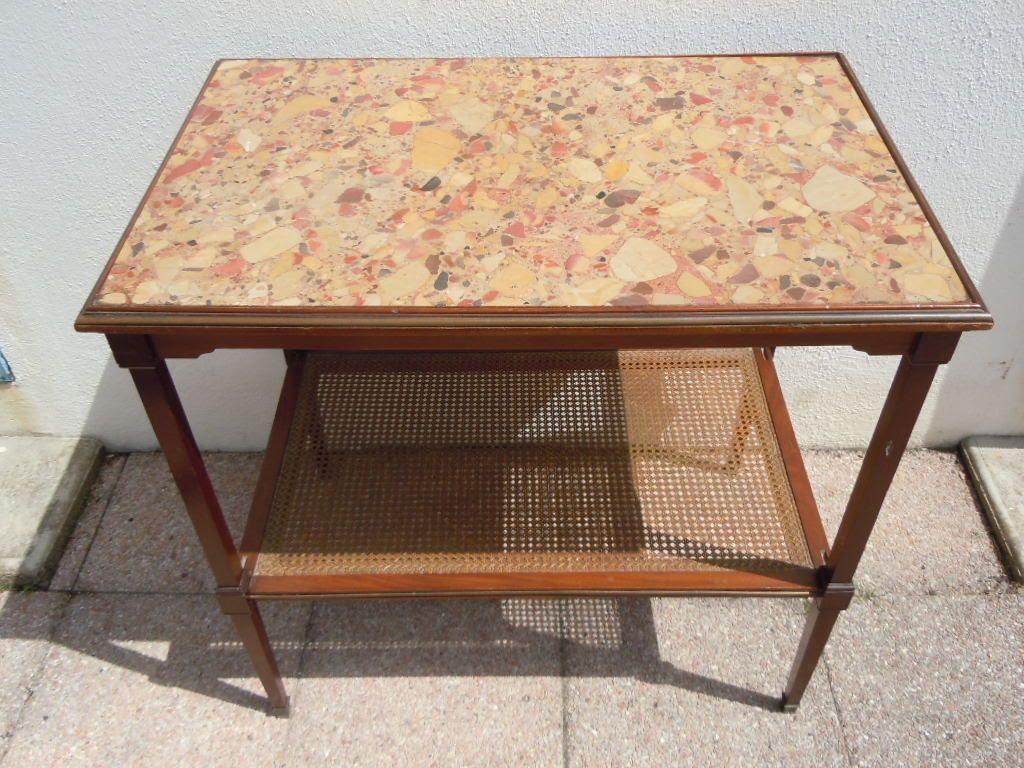 Table acajou marbre signee Escalier de cristal Paris Epoque 19eme Directoire
