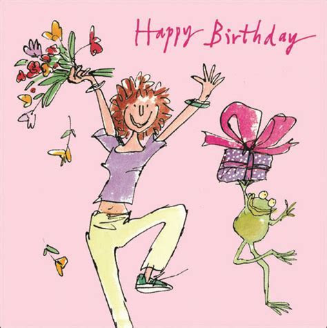 Quentin Blake Leaping Happy Birthday Greeting Card   Cards