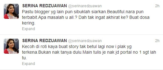 Serina Chef Wan Hentam Blogger Melalui Twitternya