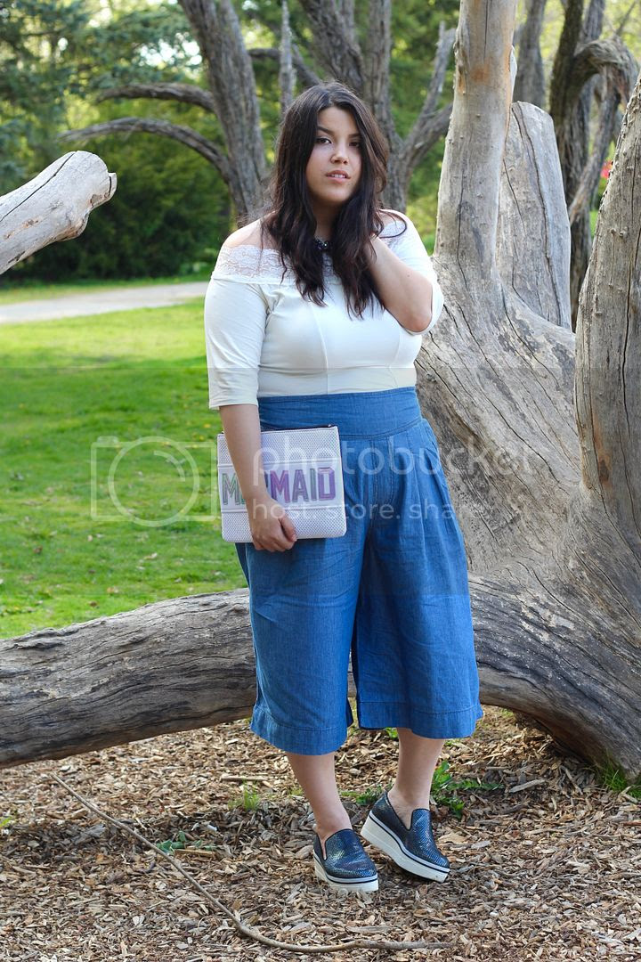Yours Clothing Denim Culotte Plus Size Lace Bardot Top mermaid clutch iridescent scales steven madden Jessica Ip theinbetweenie plus size fashion toronto canada blogger