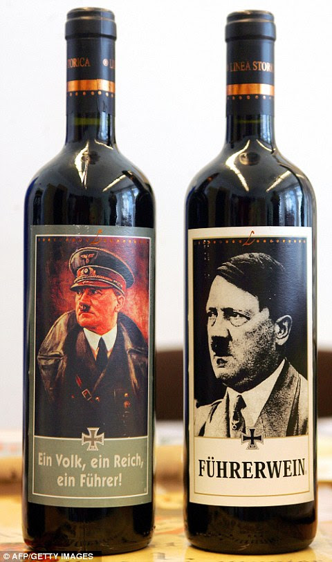 Offensive: Cindy Hirsch from Philadelphia, U.S. was holidaying with her husband Michael in Garda, northern Italy, when the couple spotted spotted the Fuhrer wine bottle labels featuring pictures of the former Nazi leader