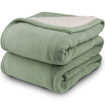 Pure Warmth MicroPlush Sherpa Electric Heated Blanket Full Sage
