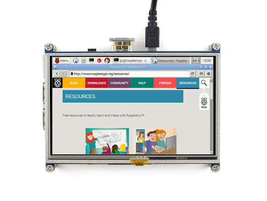 "5"" 800x480 HDMI Display for Raspberry Pi with Resistive Touch (I/O Touch Interface)"