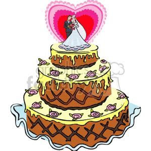Download three layer wedding cake with the couple on the