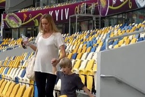 Кристен Пазик на тренировке сборной Украины в воскереснье