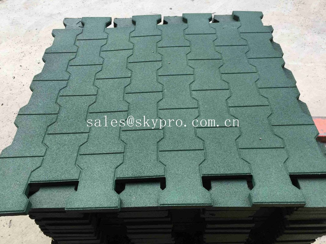 Driveway Rubber Patio Pavers Anti Slip Recycled Rubber Flooring Thickness 15 100mm
