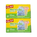 Glad Recycling Drawstring Trash Bags 90 Ct. - 13g Tall Blue Kitchen Bags