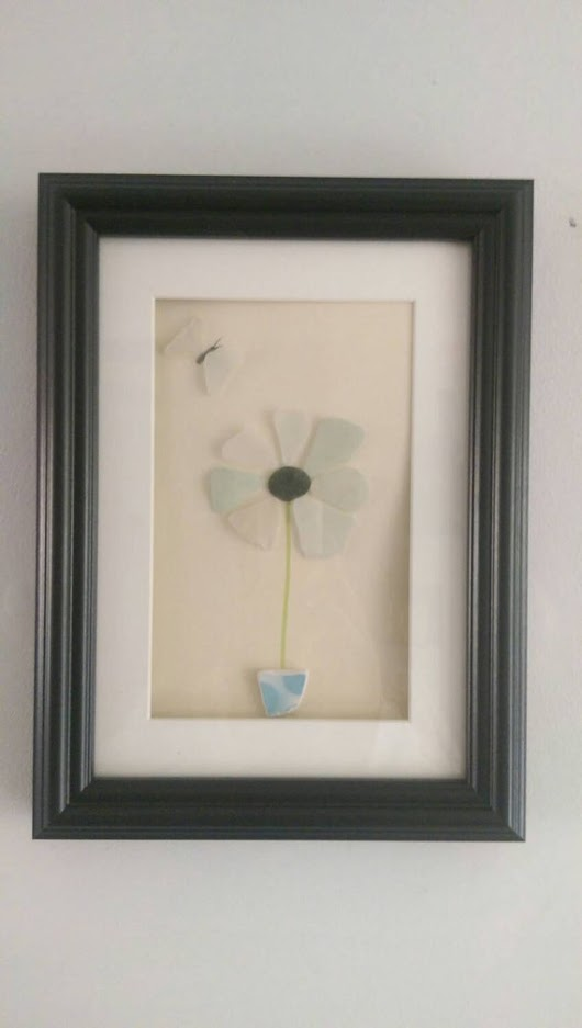 Seaglass/pebble art  Coastal Flower by SeaglassGifts on Etsy
