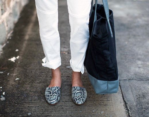 Le Fashion Blog Whites Neutrals Emerson Fry SS 2014 Lookbook Mick 2 White Denim With Ankle Zipper Jeans Cobra Embossed Emerson Slides Slip On Flats 5 photo Le-Fashion-Blog-Whites-Neutrals-Emerson-Fry-SS-2014-Jeans-Cobra-Slides-5.jpg