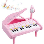 Okreview Piano Toy Keyboard 1 2 3 4 Year Old Kids Birthday Multifunctional with Microphone Pink (24 Keys)