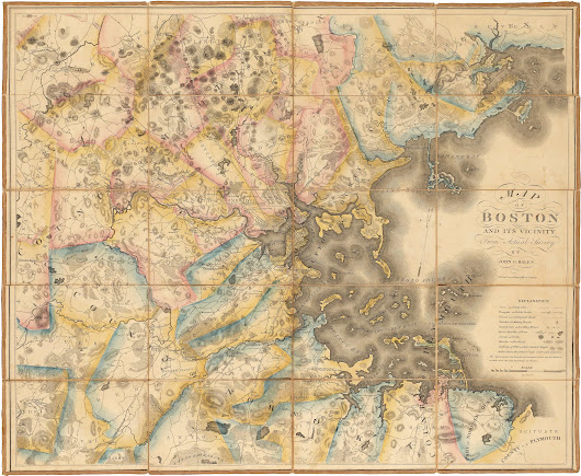 Superb map of the Boston area by John G. Hales