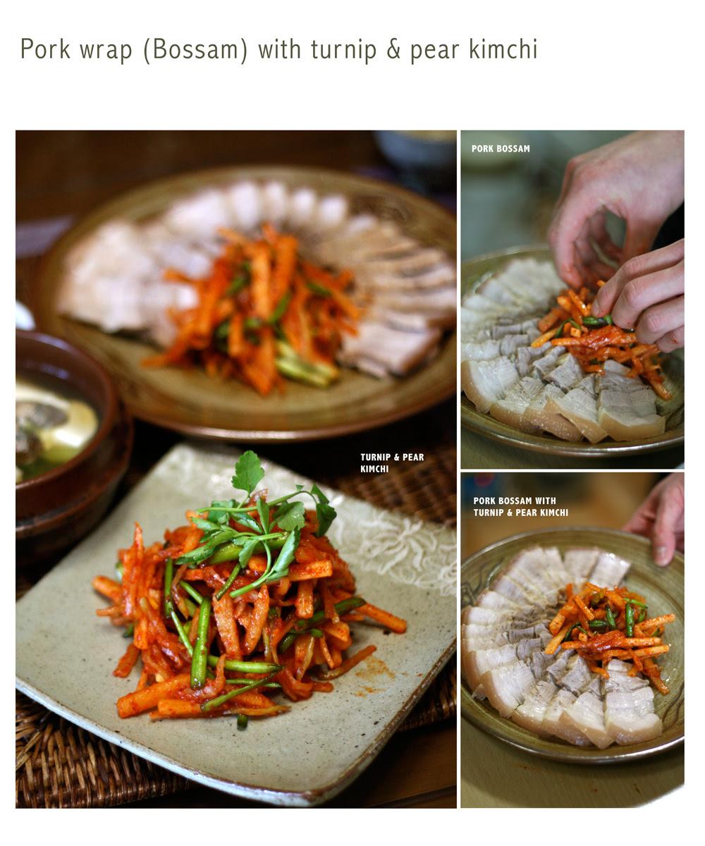 bossam and turnip pear kimchi