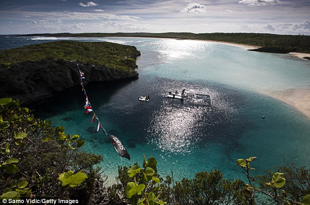 The event took place at Dean's Blue Hole, which plunges 202 metres in a bay west of Clarence Town on Long Island, Bahamas