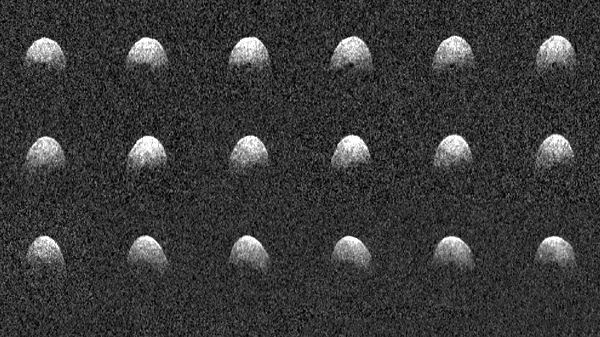An image mosaic of asteroid 3200 Phaethon that were taken by the Arecibo Observatory Planetary Radar in Puerto Rico on December 17, 2017.