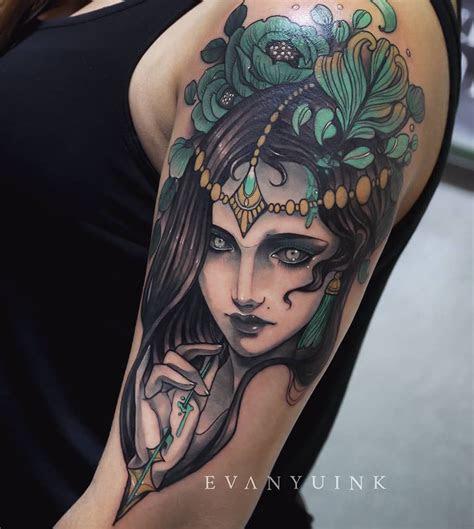 emerald girl head neotraditional evan yu ink