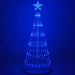 Wintergreen Lighting 4 Blue Outdoor Christmas Light Show Cone Tree, 14-Function LED Outdoor Christmas Decoration, Size: 4'