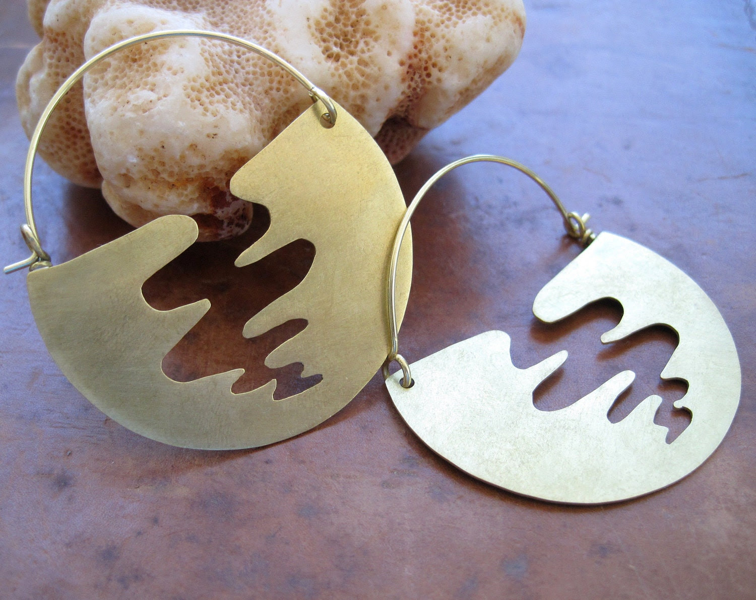 Brass half moon hoop earrings with tornado cut outs - made to order
