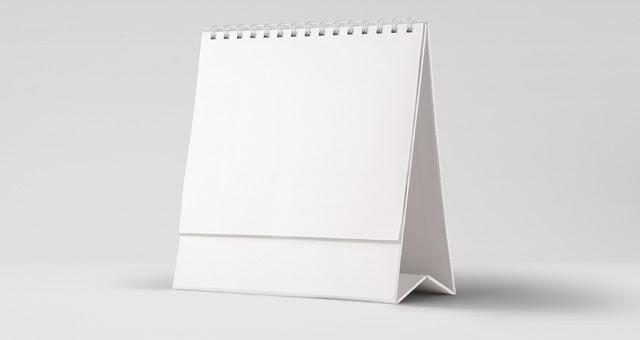 006 calendar desk presentation mockup psd brand