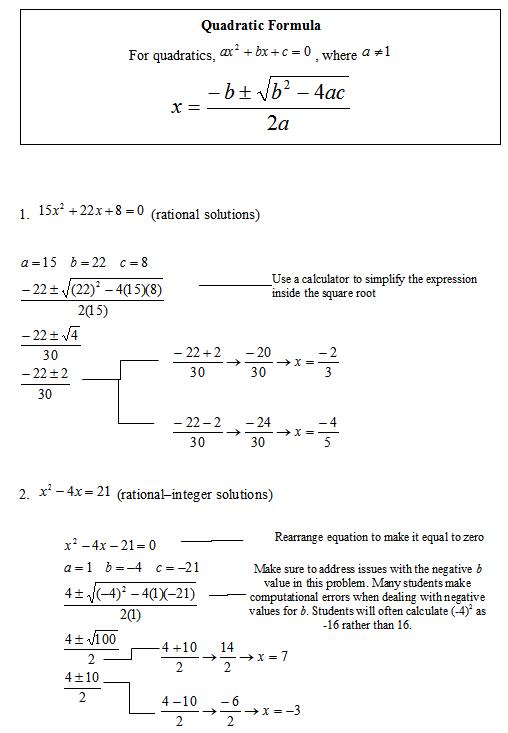 Solving Quadratic Equations By The Quadratic Formula Sas