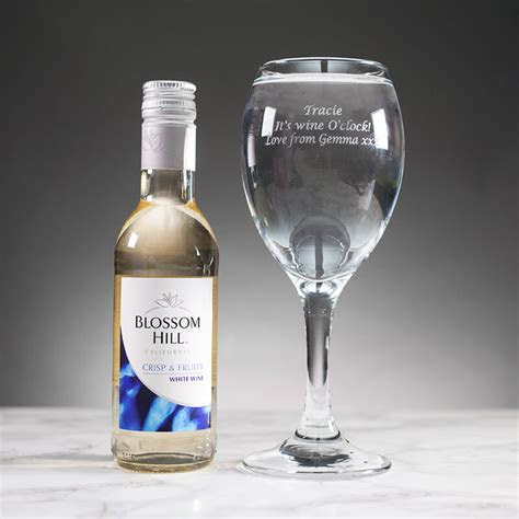 Personalised White Wine Glass with Mini Bottle of White
