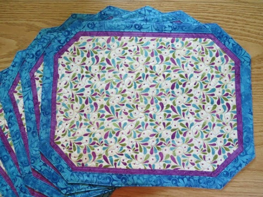 Quilted Placemats   Songbird Blue                  by QuiltinWaYnE