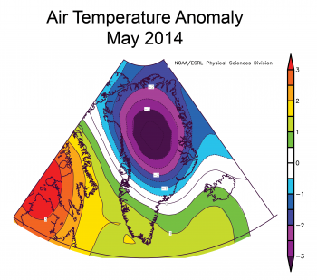 Graph of temperature anomalies