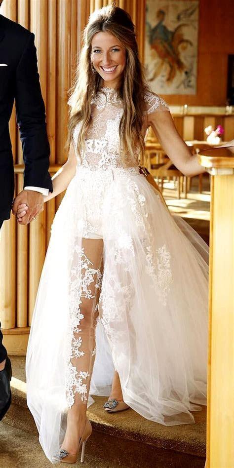 Jumpsuit Wedding Dress with Detachable Train   Women's