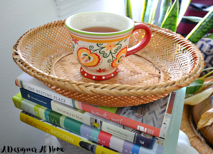 thrifted-tea-cup-with-boho-design-and-table-side-basket