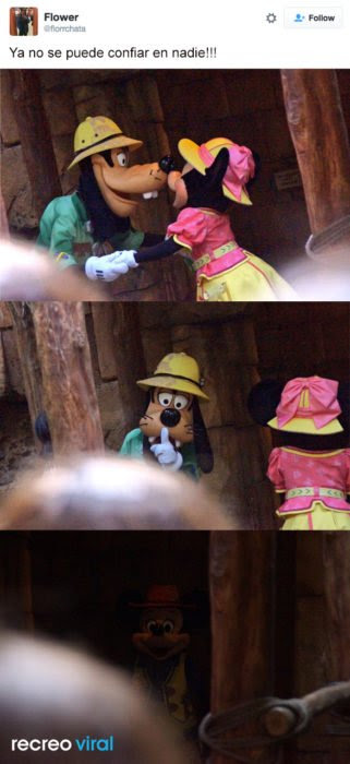 Minnie y Goofy besándose