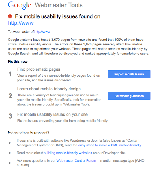 Google Sending Mass Scale Warnings To Non-Mobile Friendly Web Sites