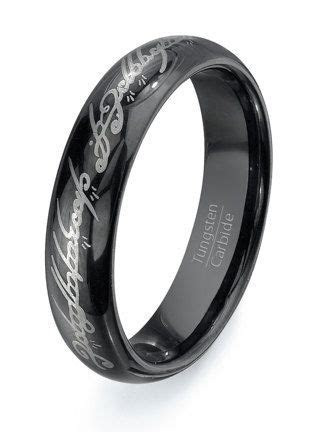 Lord of the Rings Black Tungsten Ring Wedding band   HIGH