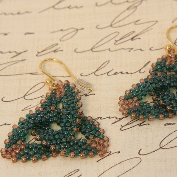 Green Trinity Celtic Knot Earrings