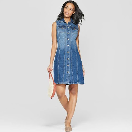 Women's Sleeveless Button Front Denim Dress - Universal Thread Medium Wash 0, Blue