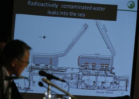 Japan's Nuclear Regulation Authority (NRA) Chairman Shunichi Tanaka (L) is seen in front of a screen showing the current situation of the contaminated water leakage in Tokyo Electric Power Co (TEPCO)'s tsunami-crippled Fukushima Daiichi nuclear power plant, during a news conference at the Foreign Correspondents' Club of Japan in Tokyo September 2, 2013. REUTERS/Issei Kato