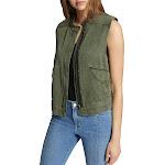 Sanctuary Womens Trekker Linen Blend Utility Vest Green