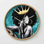 Naturally Queen Vi Teal Wall Clock by Dacre8iveone - Natural - White