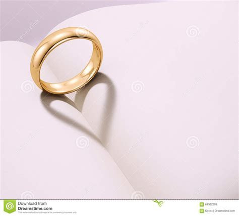 Wedding Ring Casting Heart Shaped Shadow Stock