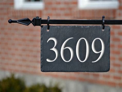 HANGING SLATE ADDRESS MARKER / HOUSE NUMBERS LAMPPOST on