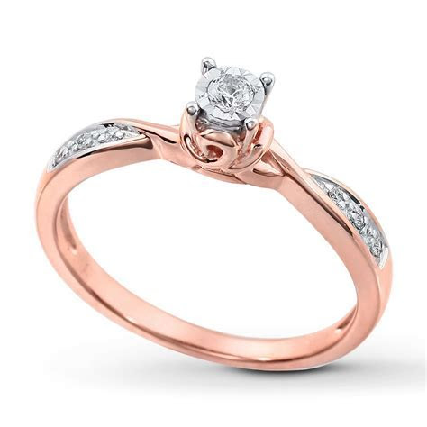 Inexpensive Round Diamond Engagement Ring for Her in Rose