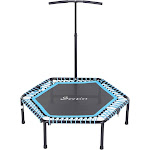 Soozier Portable & Foldable Small Exercise Trampoline with 3-Level Adjustable T-Bar Great for Adults and Children Blue