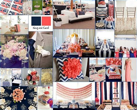 Navy Blue and Coral Wedding Decor Inspiration   Navy Blue