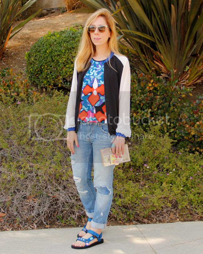 LA fashion blogger The Key To Chic wears a Peter Pilotto for Target iris print tank top with Sally Hansen Triple Shine nail polish and DIY rhinestone Teva Universal sport sandals.