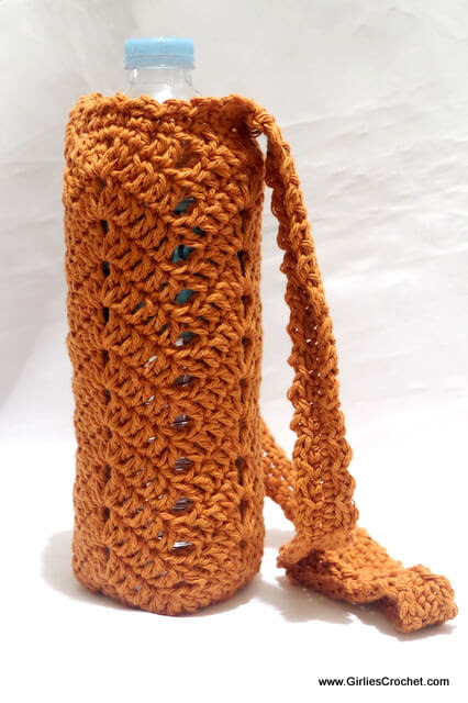 This Is An Easy And Free Crochet Pattern For Chevron Bottle Holder