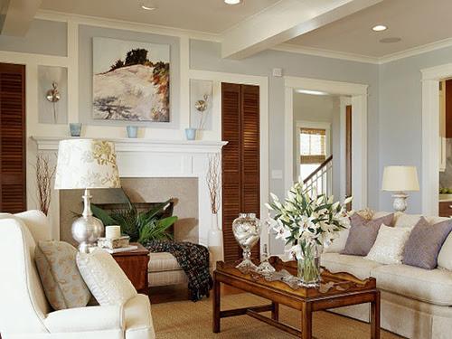 living room - Benjamin Moore Oystershell - Coastal Living